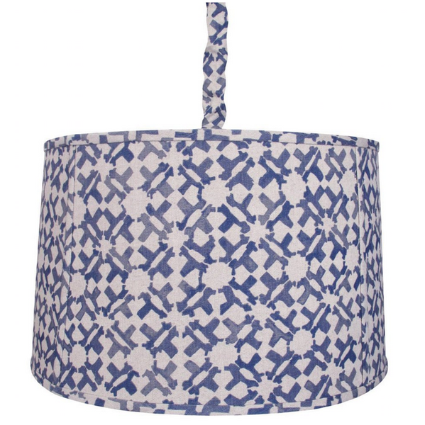 "Our Upholstered Hanging Shade is available in both small and large sizes and include a flat welt detail along the top and bottom, as well as vertical welts every 18"".  Includes an Antique Brass ceiling mount, 6' long chain, and fabric chain cover.  This item is available COM for easy customization, and can be made in custom sizes upon request."