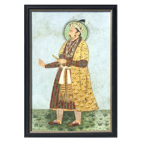 A framed, scaled-up print of an Indian miniature designed by Hollywood at Home founder Peter Dunham. Printed and framed in Los Angeles.