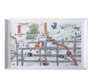 "A rectangular, porcelain tray featuring Hollywood at Home's ""Star Map"" designed by the fabulous illustrator Konstantin Kakanias. It's a fun, clever, and charming take on the classic Hollywood Star Map!"