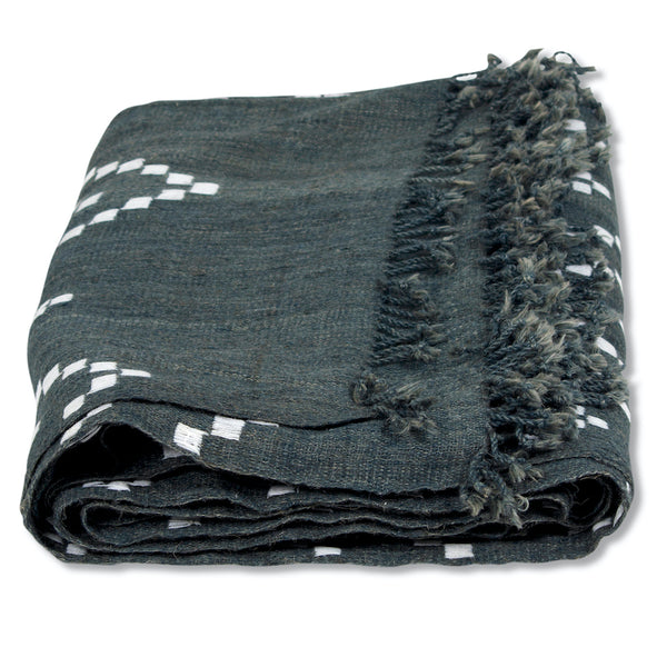 Zig Zag Indian Bedcover in Gray