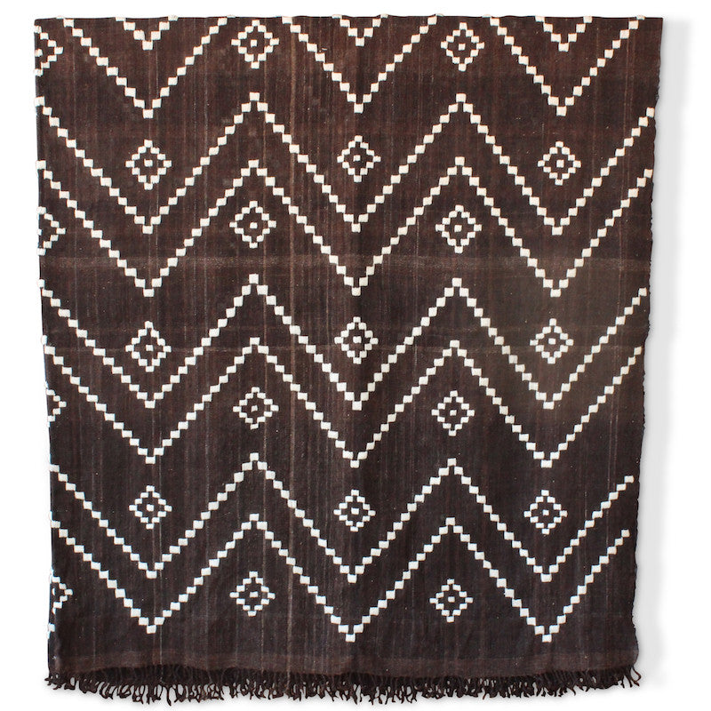 Zig Zag Indian Bedcover in Espresso