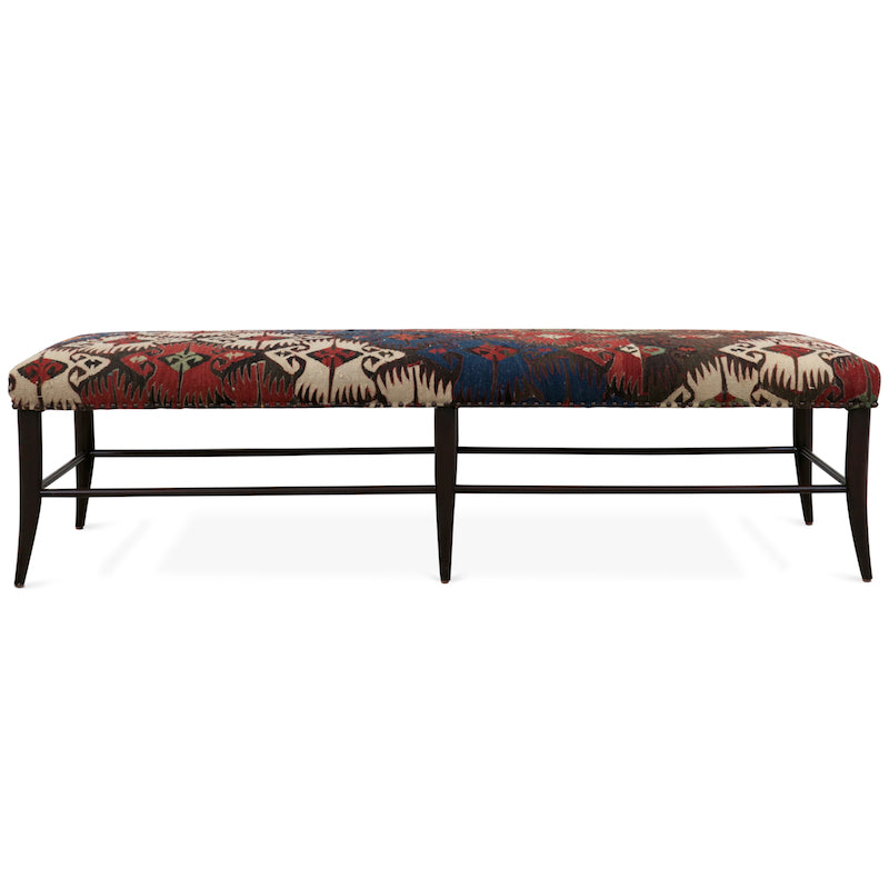 The Croft Bench, designed by Hollywood at Home founder Peter Dunham, has an Alder wood frame and bench-seat in the fabric of your choosing. We upholstering this bench with a vintage rug!