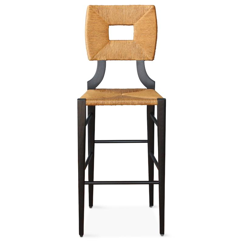 A bar or counter stool version of our iconic handmade How to Marry A Millionaire chair, a reedition of a chair our founder Peter Dunham bought at a Hollywood memorabilia auction and attributed to legendary designer T. H. Robsjohn-Gibbings.