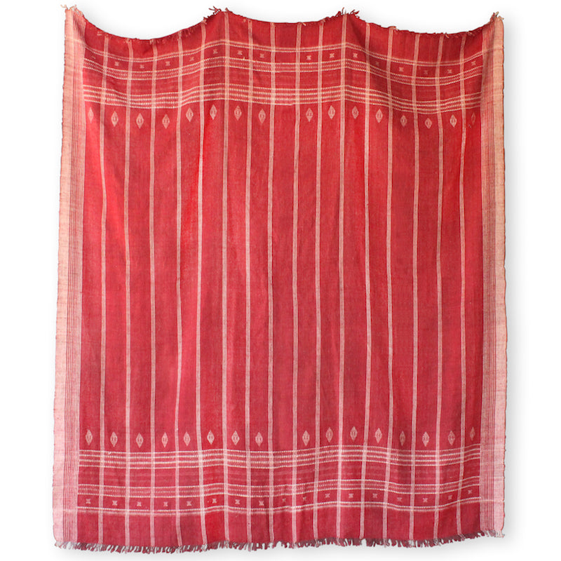 Hollywood at Home's gorgeous, lush, red handwoven Indian Bedcover. It's a perfect wool blanket to dress any queen or king sized bed. Woven in collaboration with our founder Peter Dunham.