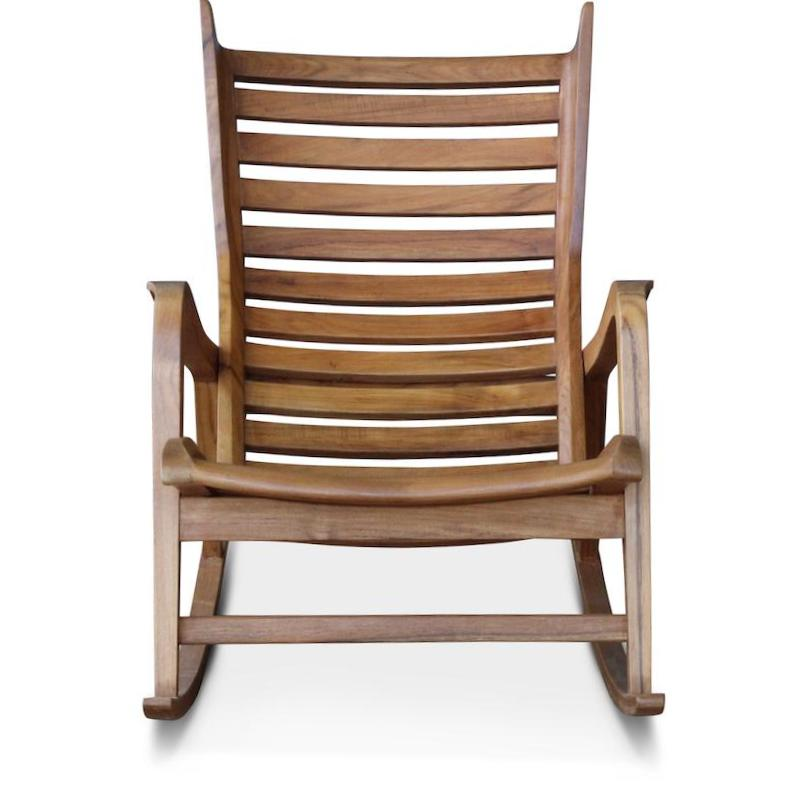 The Laurel Rocking Chair brings high style to the outdoors (or indoors!). The rocker is hand-crafted with a teak frame and standard cushions are made with an all-weather acrylic fabric and quick dry foam. Designed by Peter Dunham for Hollywood at Home. This is part of Hollywood at Home's first-ever in-stock furniture collection.