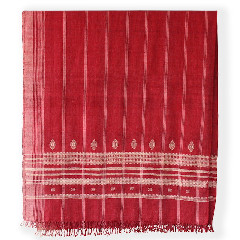 Hollywood at Home founder Peter Dunham worked with Indian hand weavers to create our 100% wool embroidered bedcover. The red blanket's generous scale is perfect for easily dressing a queen or king bed. They also work beautifully as curtains, Roman shades, and even upholstery.