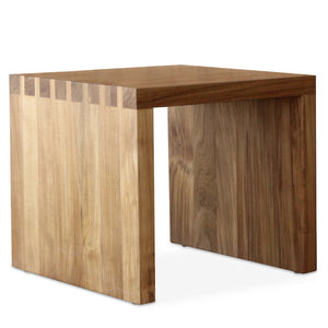 The Dovetail side table is a hand-crafted in all teak with a chic, over-sized joinery detail, and designed by Peter Dunham for Hollywood at Home.  This is part of Hollywood at Home's first-ever in-stock furniture collection. The Dovetail Side Table qualifies for FREE SHIPPING within the United States. Shipping & handling typically takes 2 weeks from order confirmation.
