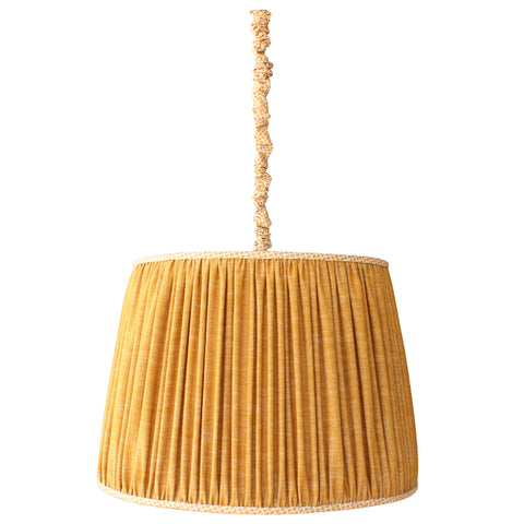 The Pleated Hanging Shade is a great option for a pendant light with personality. Make it your own by choosing a fabric that is right for your space. Made in Los Angeles and designed by Hollywood at Home founder Peter Dunham.
