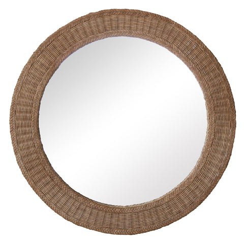 Round Wicker Mirror