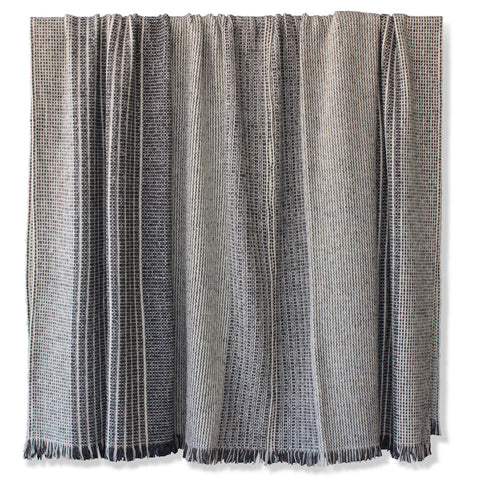 Hollywood at Home founder Peter Dunham worked with hand weavers in Spain to create this luxurious, textural black and white blanket in a large bedcover size. Made from Merino wool, it's a chic layer for the back of a sofa or a queen or king size bed.