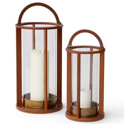 Leather hurricane lanterns hand-crafted in India for Hollywood at Home