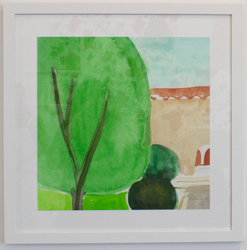 Framed art of a relaxed California scene by fashion designer and artist Virginia Johnson. Signed and numbered