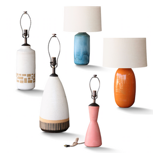 Custom Natan Moss Ceramic Lamps