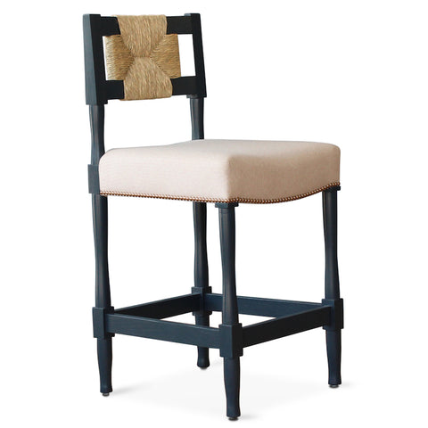 This New York Athletic Club counter or barstool is a '40s twist on an arts & crafts classic: a re-edition by Peter Dunham for Hollywood at Home of a chair from the Downtown New York Athletic Club. Remarkably comfortable, the chair is crafted from hand-turned solid oak and handwoven rush.
