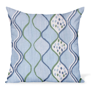 A fun, colorful cushion from Peter Dunham Textiles made from the herringbone linen print Baltic Wave in Blue/Green. Decorative pillows available in a variety of sizes.