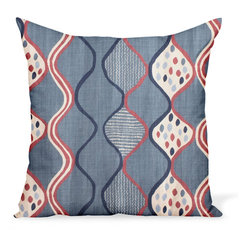 Peter Dunham Textiles Baltic Wave in Blue/Red Pillow