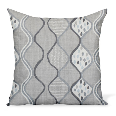 A fun, colorful cushion from Peter Dunham Textiles made from the herringbone linen print Baltic Wave in Ash/Charcoal, a gray colorway. Decorative pillows available in a variety of sizes.