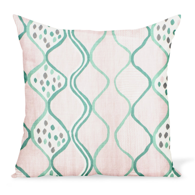 A fun, colorful cushion from Peter Dunham Textiles made from the herringbone linen print Baltic Wave in Pink/Green. Decorative pillows available in a variety of sizes.