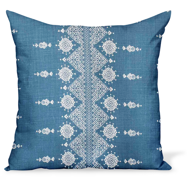 Peter Dunham Textiles Fabric Pillows Cushion Indian linen print, Carmania in Indigo