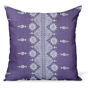 Peter Dunham Textiles linen pillow or cushion made from Carmania in Royal purple, a tribal Indian print made from linen