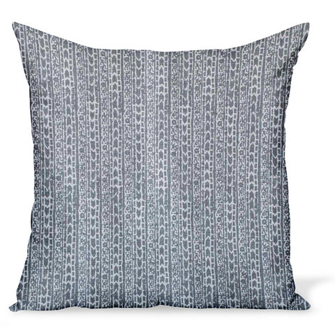 Peter Dunham Textiles pillow or cushion made from Char in Ash, a gray linen print with a tribal motif