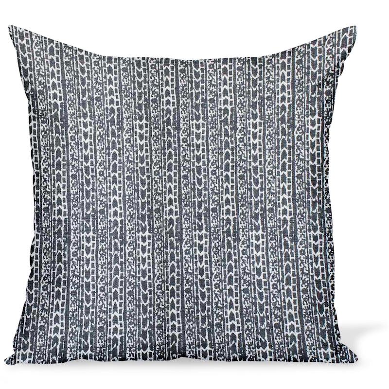 Peter Dunham Textiles cushion or pillow made from a tribal linen print called Char in Onyx, a rich black color