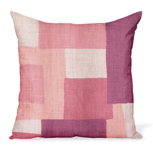 Peter Dunham Textiles' Collage fabric celebrates modern art, color, and geometry. This is the coral/pinky color way and can be made in a variety of sizes.
