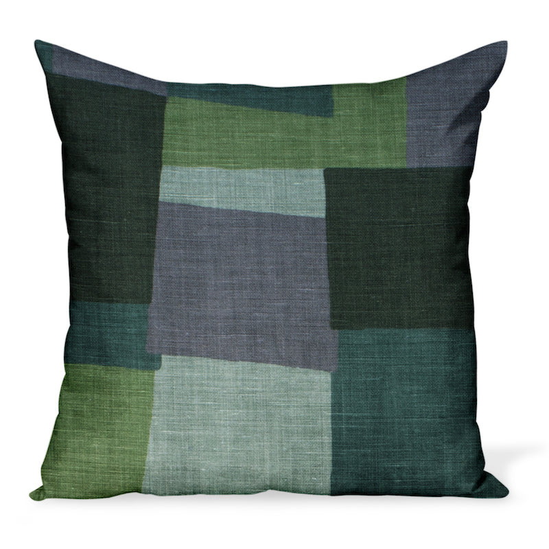 Peter Dunham Textiles' Collage fabric celebrates modern art, color, and geometry. This is the green/gray color way and can be made in a variety of sizes.
