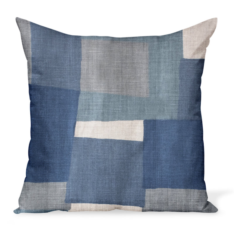 Peter Dunham Textiles' Collage fabric celebrates modern art, color, and geometry. This is the indigo/gray color way and can be made in a variety of sizes.