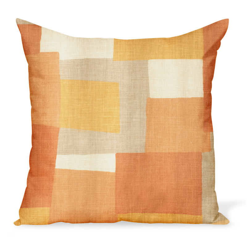 Peter Dunham Textiles' Collage fabric celebrates modern art, color, and geometry. This is the yellow/orange color way and can be made in a variety of sizes.