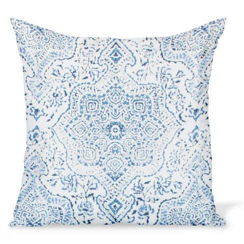 A cushion/decorative pillow in a cotton/linen fabric by Peter Dunham Textiles called Deeg in Blue on White