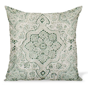 A cushion/decorative pillow in a cotton/linen fabric by Peter Dunham Textiles called Deeg in Green on Tan