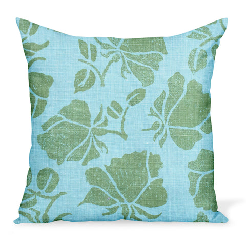 A charming, modern rose print on linen by Peter Dunham Textiles makes this decorative pillow or cushion, available in a variety of sizes.