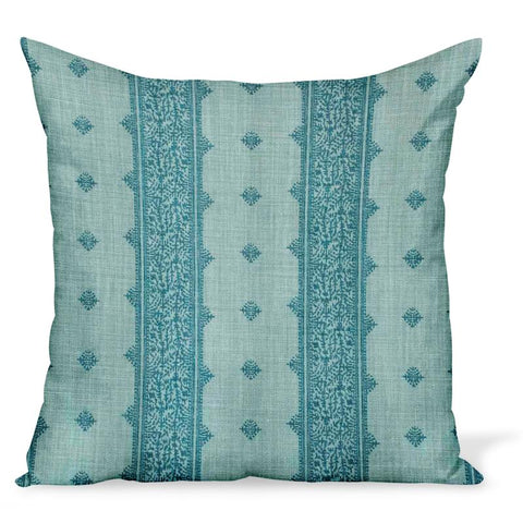 Peter Dunham Textiles Fez Stripe linen fabric in blue, an Indian style stripe, for this cushion or pillow