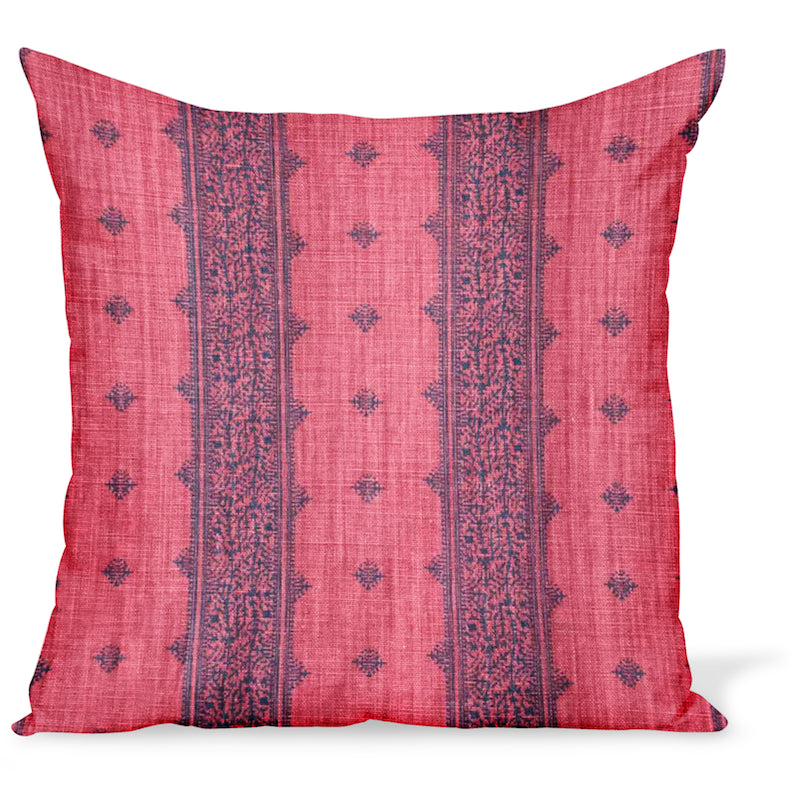 Peter Dunham Textiles Fez Stripe linen fabric in blue and raspberry, an Indian style stripe, for this cushion or pillow