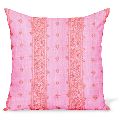 Peter Dunham Textiles Fez Stripe linen fabric in pink and orange, an Indian style stripe, for this cushion or pillow