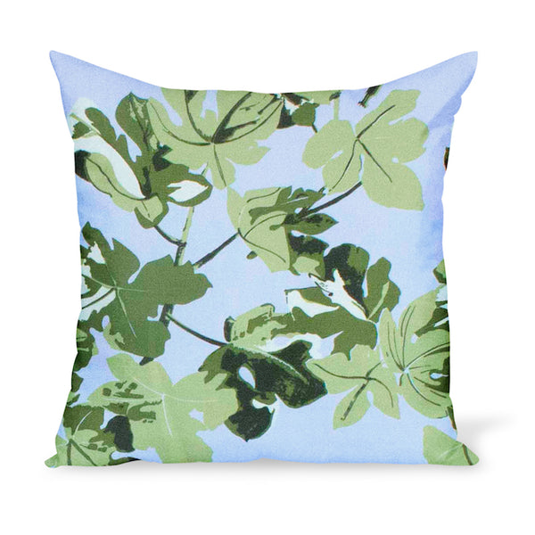 Peter Dunham Textiles iconic fig leaf print on linen available as a pillow or cushion in multiple sizes
