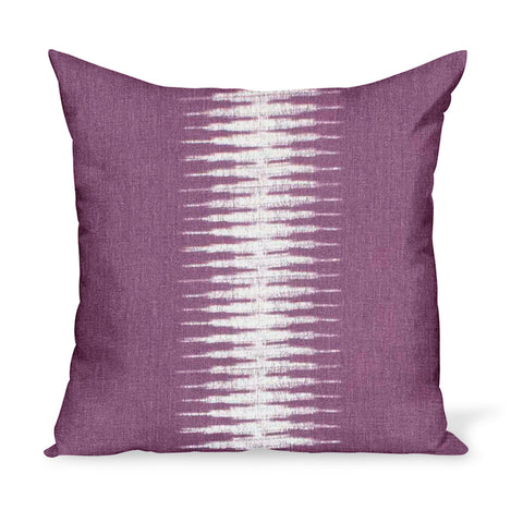 A linen pillow made from a modern take on Ikat in Pasha, a purple colorway, by Peter Dunham Textiles
