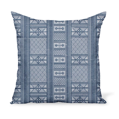 Peter Dunham Textiles Sunbrella blue Masai tribal stripe for indoor/outdoor use, pillow or cushion in various sizes