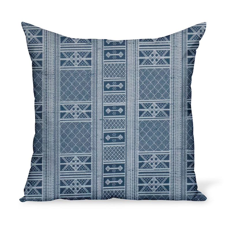 Peter Dunham Textiles Sunbrella Masai blue tribal stripe for indoor/outdoor use, pillow or cushion in various sizes