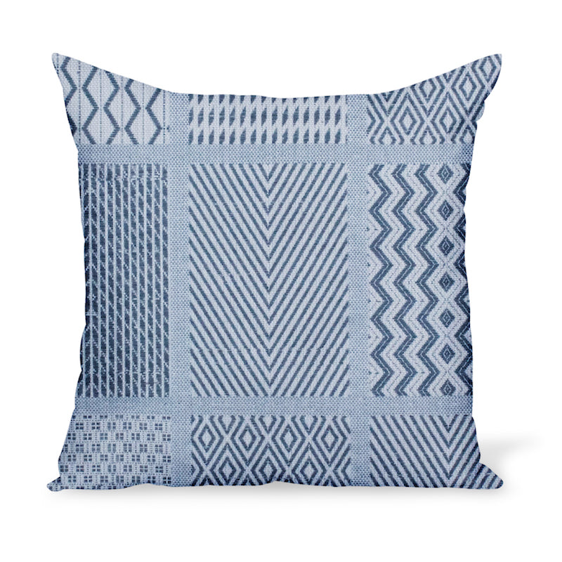 Peter Dunham Textiles Sunbrella blue Nawab tribal pattern for indoor/outdoor use, pillow or cushion in various sizes
