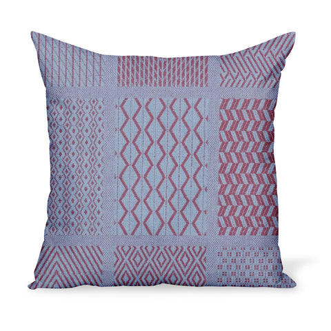 Peter Dunham Textiles Sunbrella red/blue Nawab tribal woven for indoor/outdoor use, pillow or cushion in various sizes