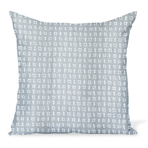 A small-scale print inspired by Japanese Textiles, created by Peter Dunham Textiles on a gray linen. Wabi in Ash cushion or decorative pillow is available in a variety of sizes.