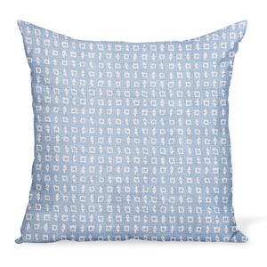 A small-scale print inspired by Japanese Textiles, created by Peter Dunham Textiles on a pale blue linen. Wabi in Blue cushion or decorative pillow is available in a variety of sizes.