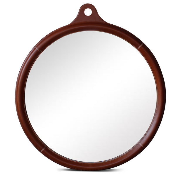 Round Indian Leather Stitched Mirror