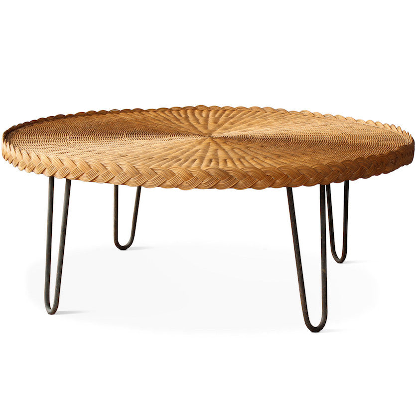 ... The San Remo Coffee Table Features A Circular Wicker Top With  Mid Century Styled Hairpin ...