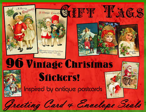 Christmas Greeting Card Stickers, HUGE Set of 96 Envelope Seals on 3 STICKER SHEETS, Old Fashioned Holiday Stickers, Antique Gift Tag, 2P47