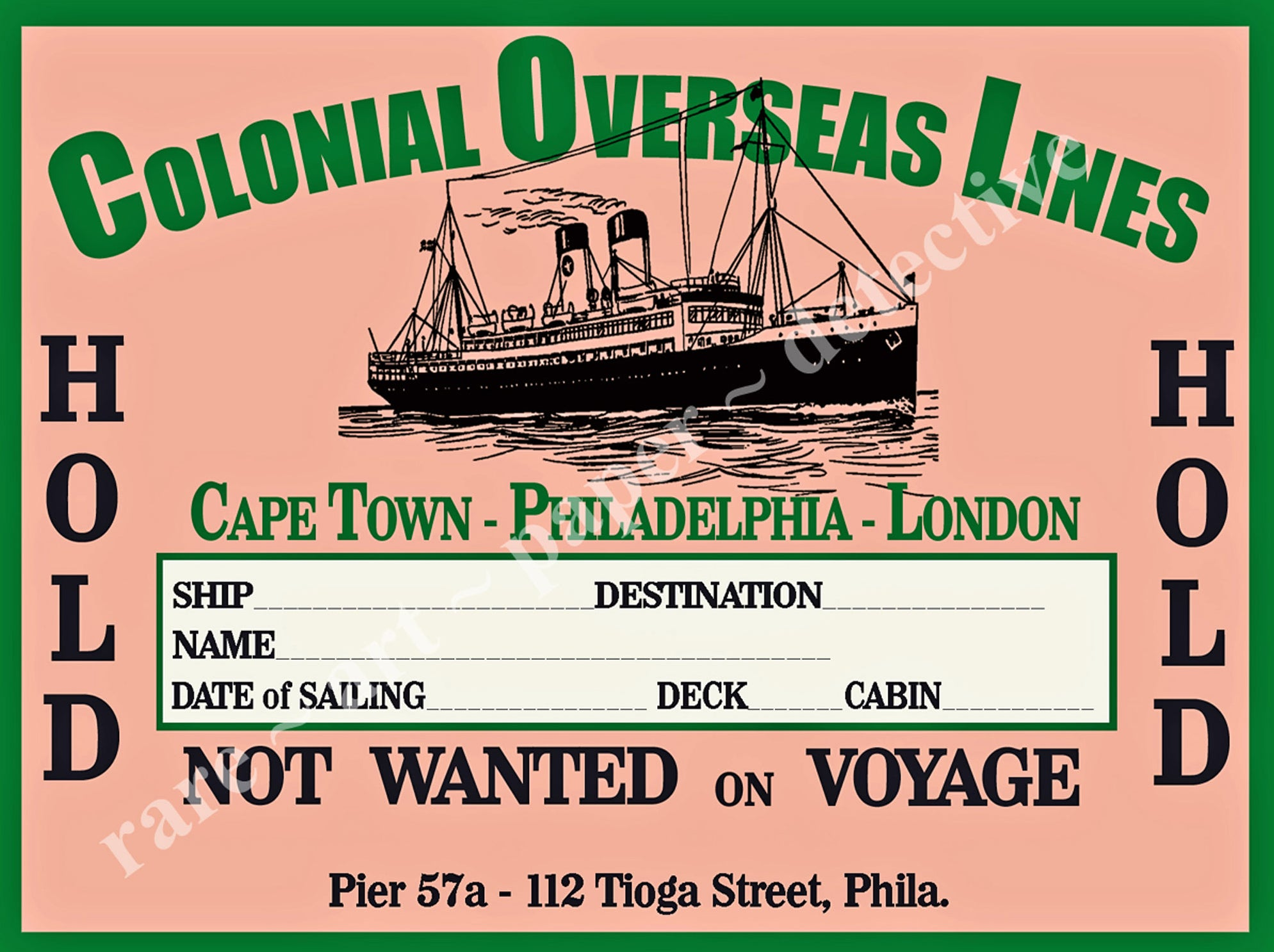 "Travel Sticker, Luggage Label, Vintage Label Art & Baggage Tag, Steamship Trunk Home Decor, Travel Junk Journal Scrapbook, 4"" x 3"", 308"