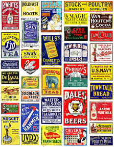 "Scale Model Train & Doll House Miniature Sign Stickers, 34 Pcs. Set, G Gauge Railroad Sign Illustrations, 8.5"" x 11"" Sheet, #1002"