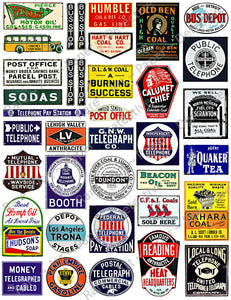 "Diorama, Doll House & Model Railroad Miniature Sign Stickers, 37 Pcs. Set, Train Sign Illustrations, 8.5"" x 11"" Sheet, #1006"